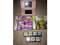 Nintendo pink ds lite and various games