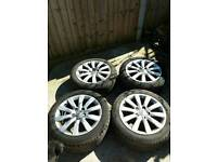 Genuine Audi alloy wheels & good tyres - from 2009 A4, also fit VW T4 - 5 x 112