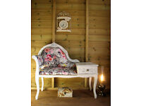 Vintage Telephone Seat Chair Table Chaise Longue Painted Shabby Chic Roses
