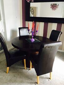 Dark solid wood Dinning set