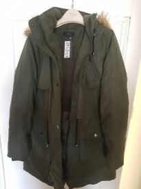 M&S Collection Parka Coat, Khaki, Size 14, New with Tags