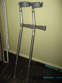 Pair Large Lightweight Aluminium Adult Elbow Crutches
