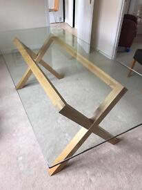 Dining table - Glass and solid oak