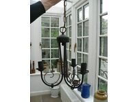 Ceiling Light fitting - black painted metal - three branches
