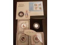 Beatrix potter silver proof coin collection including PNC