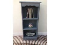 Solid pine painted narrow bookcase / display shelf