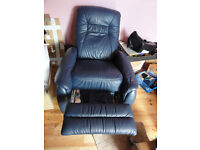 Heavy duty leather Recliner with rise feet Lovely Condition