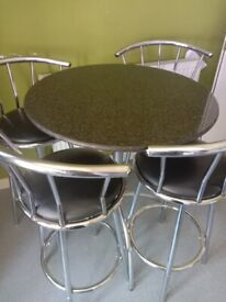 Real marble dining table with 4high chairs