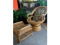 Vintage Bamboo swivel chair with foot stool