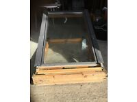 Keylite top hung window. Pine finish. 60 x 93 cms glass. 118 x 78 cms frame