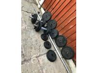 70kg Cast iron Weights Barbell & Dumbbells Set. •Can Deliver•