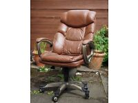 Bonded Brown Leather Executive Chair, office armchair, padded armrest, adjustable, tilt lock, etc
