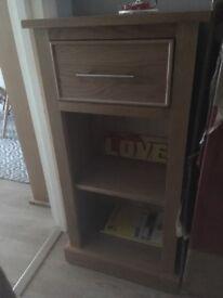 Immaculate solid oak shelf draw unit