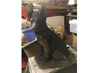 Stone garden ornament German Shepard type