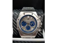Silver Audemars Piguet With Grey Face abd Blue Dials Comes AP Boxed With Paperwork