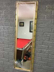 chunky gold leaf framed full length mirror with silver inlay