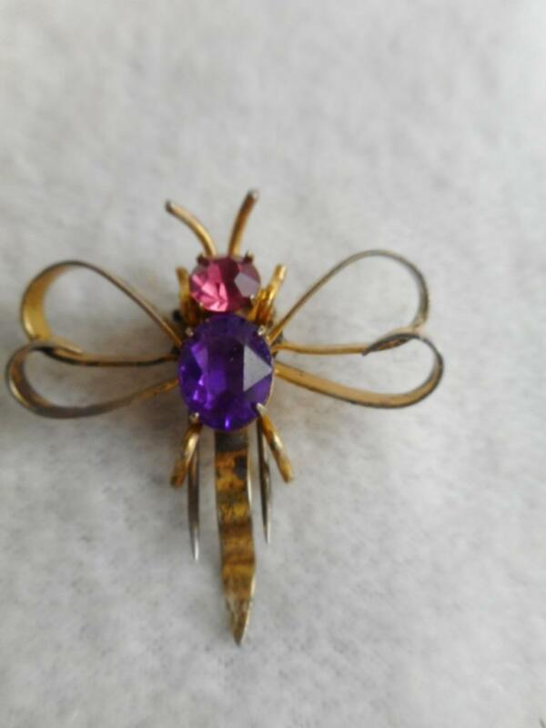 Retro gold plated sterling silver dragonfly fur clip w/ purple & pink stones
