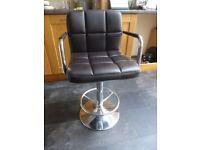 Maze brown faux leather & chrome bar stool