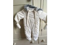 John Lewis Baby Wadded Snowsuit - 3-6 months - Cream - Excellent condition