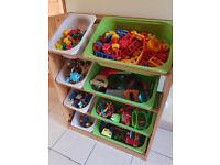 Children's open tray storage unit