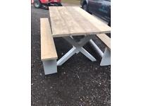 Lovely dining table and benches