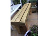 New handmade chunky solid wood garden bench