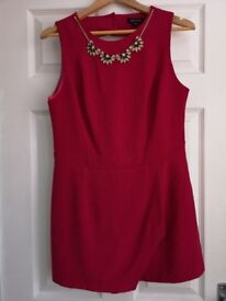 Cerise Pink Playsuit with attached Necklace size 14