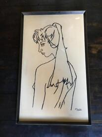 Large Framed Picture Picasso print of Sylvette Davide?