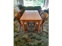 Solid Pine Dining Table and 4 Four Solid Pine Chairs - Wood Wooden Living Room Furniture
