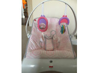 FISHER PRICE BABY COMFORTING VIBRATING PINK CURVE BOUNCER