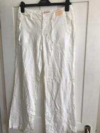 Miss selfridge linen white trousers size 8