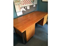 Large wooden desk with 5 drawers