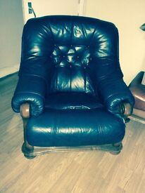 genuine italian leather sofa, chair and foot stool
