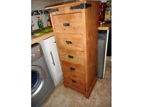 tall wood effect 5 drawer chest of drawers
