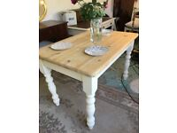 Solid Pine Farmhouse Rustic Shabby Chic Kitchen Dining Table. Vintage,retro,