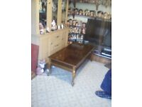 Large vintage coffee table with drawers