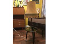 1950s Vintage Lamp Table Combo With Original Shade by 'Mac' Retro Midecentury MCM