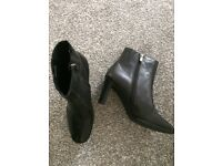 Ladies Un-Worn Black Soft Leather Ankle Boots - Size 5.5