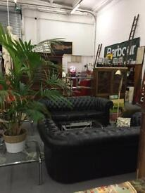 Black leather antique chesterfield sofa vintage