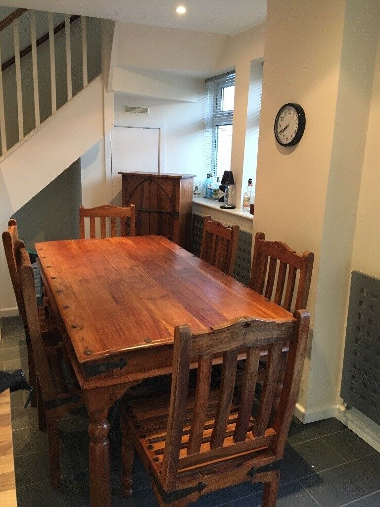Beautiful Dinning table, 6 chairs with matching cabinet