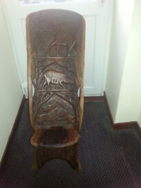 African Carved Wooden Chair