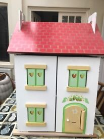 Le Toy Van wooden dolls house with dolls, furniture, & garden accessories