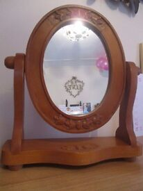 Very large pine corner unit, antique pine mirror and pine chair