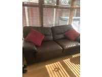 Dark brown M&S leather sofa and armchair