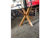 Oak and glass tripod dining table