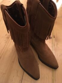 Brown Suede Leather Genuine Cowboy Boots with Fringe Size 5