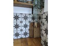 Vintage rustic geometric star tiles