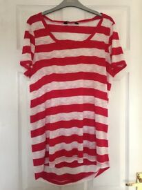 Dorothy Perkins Pink & White Striped Top. Size 14.