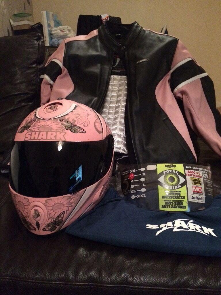 Helmet and leather jacket