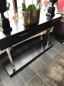 Barcelona Style Black ash console table with two drawers
